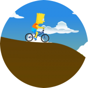 Барт Симпсон на велосипеде