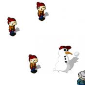 Детская игра в снежки