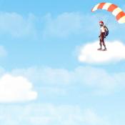 Парашютист в облаках